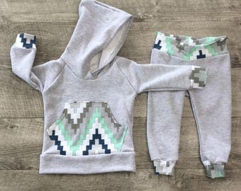 Baby boy sweat shirt and joggers set / newborn boy outfit / toddler outfit