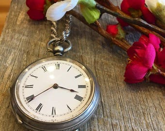 Antique Sterling Silver Pocket Watch with Hand Engraving