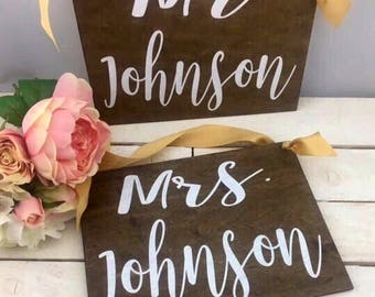 Mr And Mrs Wedding Signs-Wedding Chair Signs-Rustic Country Chic Mr And Mrs Signs