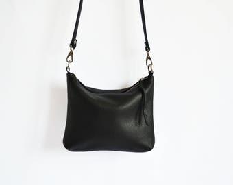 MINI HOBO BAG Black Leather Hobo Women Bag Wedding Bag Black Hobo Cross Body Bag Soft Leather Bag Leather Purse - Napoli Bag -