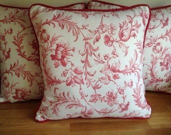 Handmade Piped Cushions in Laura Ashley Ironwork Scroll Cranberry, Bacall Cranberry Reverse, Including Pad/Insert