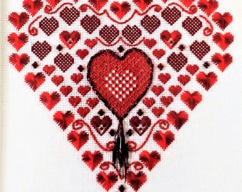 Heartbeats, A counted needlepoint chart and instructions for 24 count canvas. Sold as a digital download