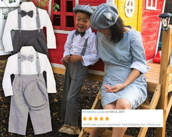Baby, Toddlers and Boys Retro 5 piece Linen Suit, pants bowtie shirt hat suspender, light and dark gray, wedding ring bearer birthday party