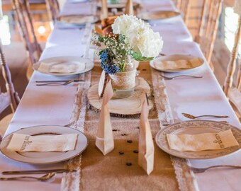 Rustic burlap and lace table runner - wedding decor - rustic