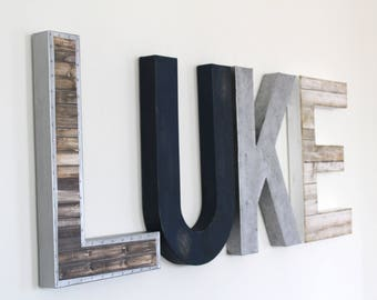 Boy Room Decor   Farmhouse Letter Decor   Rustic Farmhouse Letters   Faux  Wooden Letters