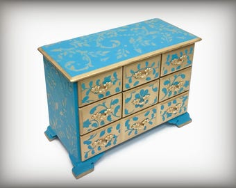 Large Jewelry Box, Vintage Hand Painted Jewelry Keepsake Box, Turquoise Aqua Gold Jewelry Box, Gift Wife Daughter Girlfriend, Unique OOAK
