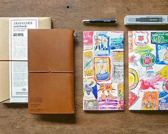 Traveler's Notebook x Ace Hotel Collaboration Model Camel Leather Cover Regular size & Brass Ballpoint Pen,Refillx2 TC Caravan in USA Rare