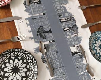 Gray table runner Street Table linen - Monochrome table decoration- Chic Modern Funky designer item Silver wedding party-Lovely Gift idea
