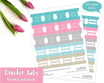 "Monthly divider tabs. Divider tabs (monthly and blanks) printable. Blank divider tabs. USLetter (8.5""x11"") Size. Instant download. PDF file."