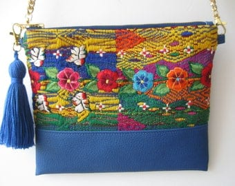 Embroidered Mexican Bag/Colorful Mexican Bag/Embroidered Mexican/Mexican Bag/Blue Colorful Bag/Blue Clutch/Embroidered Clutch/Mexican Clutch