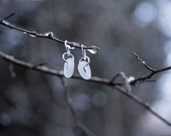 CARVED SEAGLASS HOOPS | Frosty, White, Authentic Cornish Seaglass Earrings in Sterling Silver | Handmade jewellery by Of land & Sea
