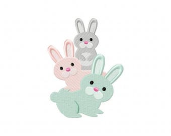 Bunny rabbit stack machine embroidery design