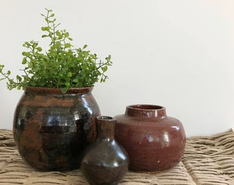 Instant Collection Three Vintage Pottery Pieces | Set of Three | Handmade Pottery Pots Vases