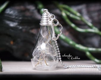silver plated chain with dandelions glass vials