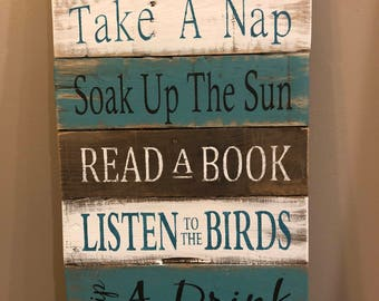 Patio rules sign, patio decor, pallet sign, wood sign, home decor, rustic decor