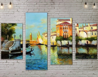 Art Print on Canvas, Large Wall Art , Venice , River, Canoe, Canvas Art, Interior Art, Living Room Decor, Extra Large Art, 4 Panel Canvas