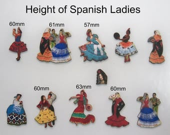 SPANISH LADIES in Dancing READY.  !0 X Wooden cutouts