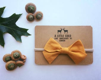Big bow yellow mustard headband