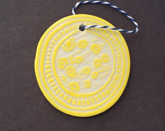 Zentangle Ornament - Home Decoration, hand carved porcelain, yellow, circles