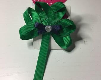 St patricks day green ribbon shamrock hair clip