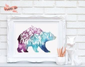 Bear Mountain Silhouette Digital Download for Print, Printable Art, Watercolor Printable, Bear Watercolor Mountains