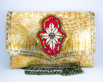 One-of-a-kind, Snake Skin Effect, Tribal, Moroccan, Handmade Clutch Bag, Perfect gift.