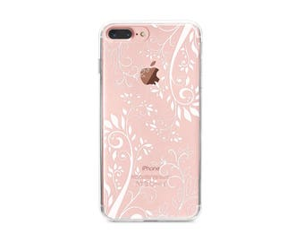 Clear iPhone 7 Plus case, vintage floral iPhone 7 case, pretty iPhone cases, iPhone 6s Plus case/6s case, clear phone cases