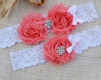 Rustic Garter Set, Vintage Pink Garter, Wedding, Valentines Day Gift, Coral Garter Set, Bridal Garter, Garters, Custom Garter, Coral Garter