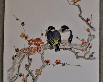Watercolor Original Birds on Tree Vintage