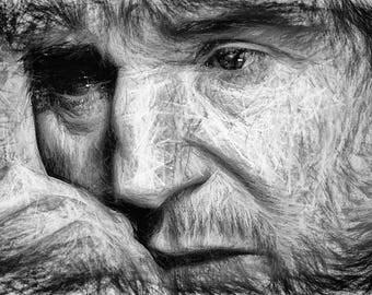 Liam Neeson,Line Art,Abstract,Drawing,Geschenk,Unikat,Geburtstag,Home,Paint,Portrait,Deko,Architekt,Raumplaner,Leinwand,Wohnung,Wand Deko