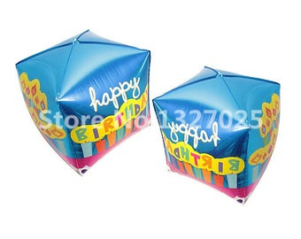 10Pcs Happy Birthday Decoration Balloon , 1st Birthday Decorations Happy Birthday Cube Box Shape Air Balloons, Kids toys Classic
