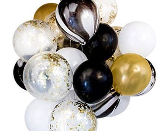 """Confetti Latex Balloon Bouquet (12"""" 20pcs) Ready To Inflate Wedding Birthday Party Decoration Photo booth (Black Marble)"""