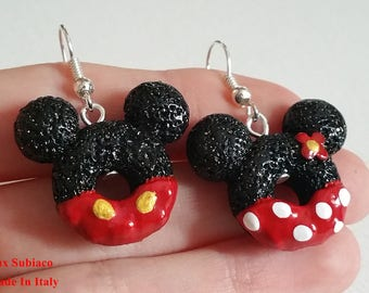 Orecchini anallergici dolci artigianali Topolino e Minnie / Mickey Mouse and Minnie candy Handmade Earrings