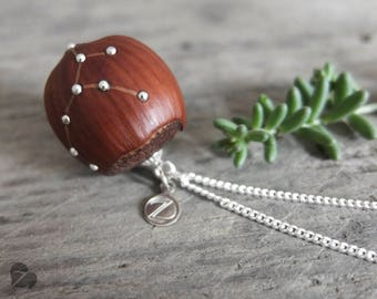 Virgo zodiac sign necklace / Wooden hazelnut necklace / real hazelnut / fairy tale jewellery / nature lover gift / star sign / engraved
