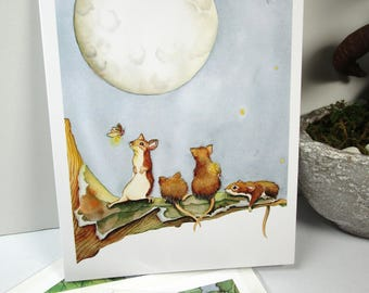 Mice  and moon watercolor print  5 pack set everyday or birthday cards
