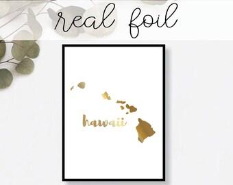 Hawaii State Print // Real Gold Foil // Minimal // Gold Foil Print // Decor // Modern Office Print // Typography // Fashion Print