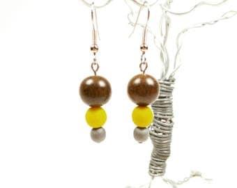 Graywood, Matte Yellow Glass and Matte Grey Glass Bead Earrings