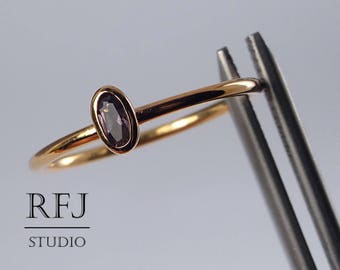 Rose Gold Plated Oval June Birthstone Synthetic Alexandrite Silver Ring, Stacking 14K Rose Gold Plated Alexandrite Ring, Oval Gemstone Ring