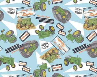 "New John Deere Fabric: John Deere -Nothing Runs Like a John Deere Collage  100% cotton Fabric by the yard 36""x43"" SC464"