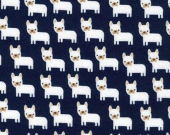 Dog Fabric:  NEW Robert Kaufman Midnight Black Urban Zoologie Minis - French Bulldog 100% cotton FLANNEL fabric  (RK57)