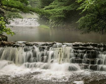 waterfalls, water, fog, summer, photograph, picture, wall hanging, wall decor, home decor