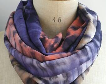 tie dye infinity scarf, batik scarf, blue red scarf, tie dye scarf, boho scarf, rayon scarf, viscose scarf, womens scarves, blue loop scarf