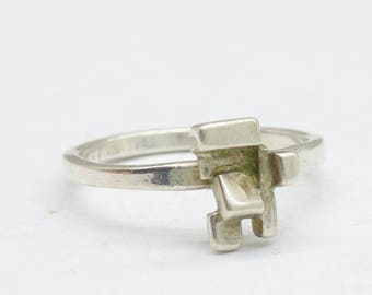 Sterling silver brutalist ring, brutalist jewelry, modern jewelry, gift for her, cubism, handmade jewelry, unique ring,  free shipping
