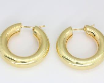 Big 14 k gold hoop earrings, big gold creoles, vintage gold earrings, 585 earrings, large hoop earrings, statement earrings, free shipping