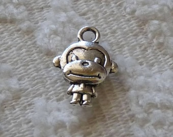 Monkey Charm, Animal Charm, Cute Monkey Charm Pendant, Silver Tone Charm, Metal Charm, 2 Side Necklace Pendant Charm, Charm for Bracelet