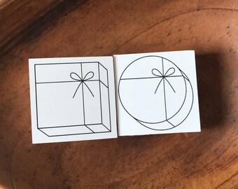 Gift Cylinder /Cube design wooden rubber stamp