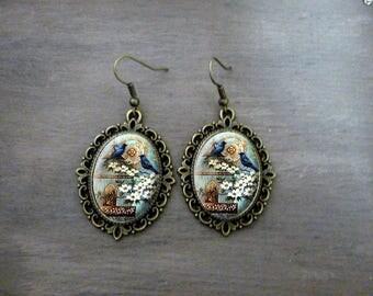 Boucles d'oreilles Ovales festonnées, Boucles d'oreilles cabochon rétro vintage romantique les oiseaux  Boucles d'oreilles romantique