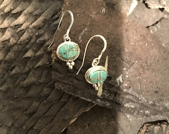 Number 8 spider web Turquoise Earrings