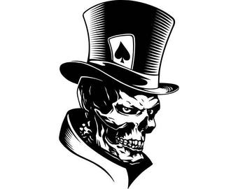 Poker Skull #1 Ace Of Spades Top Hat Playing Card Gambling Gamble Betting Game Casino Player.SVG .EPS .PNG Clipart Vector Cricut Cut Cutting