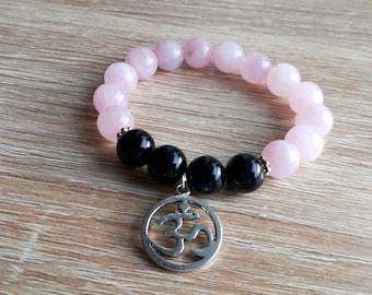 Spiritual bracelet,OM bracelet, AUM bracelet, Yoga bracelet, Pink Quartz  bracelet, yoga jewelry, Boho jewelry
